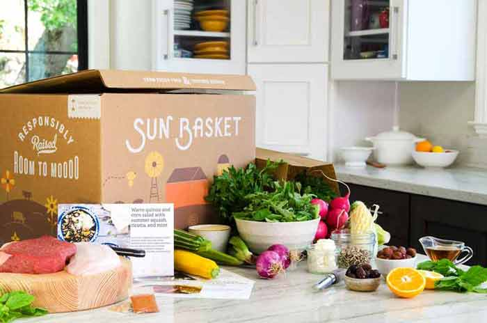 Sun Basket box in the kitchen