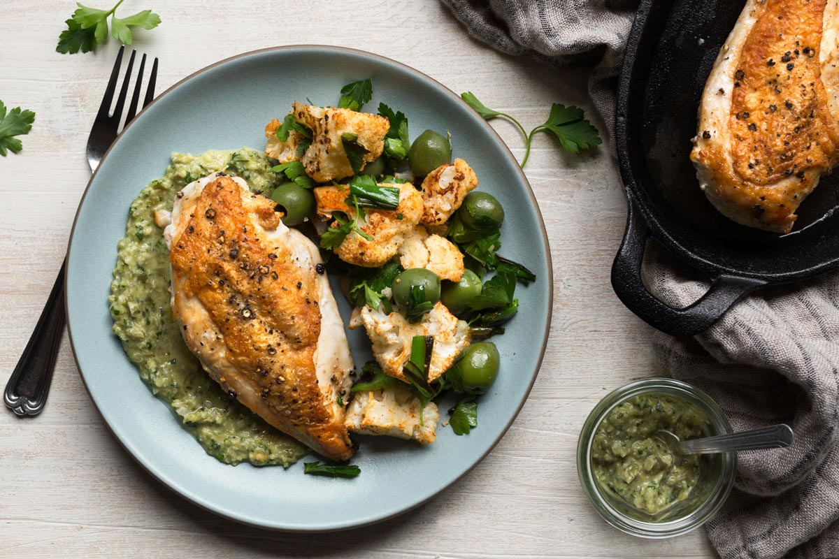 Chicken with Green Romesco