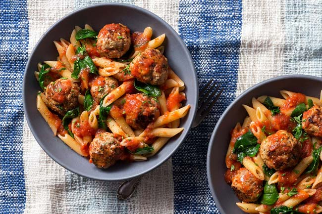 Photo of Sun Basket's Turkey meatballs and penne in marinara sauce from the Mediterranean Meal Plan