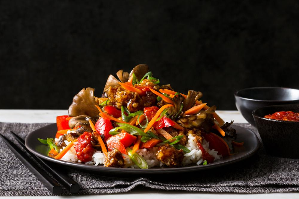 Crispy tofu stir-fry with sweet Sichuan sauce and jasmine rice