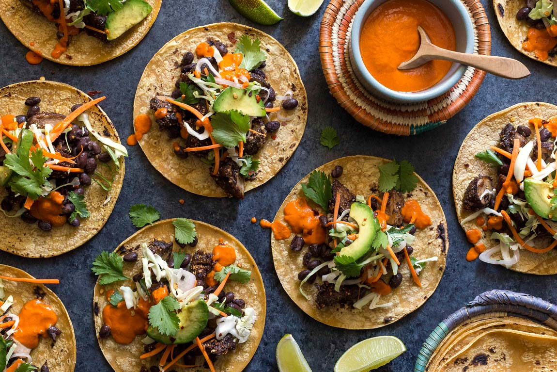 Five-spice black bean tacos