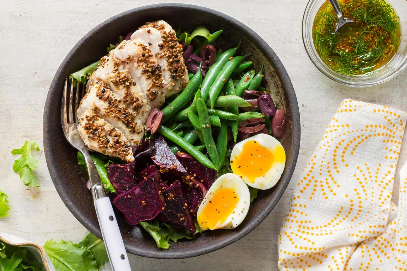 Nicoise salad with seared albacore tuna, eggs, and green beans