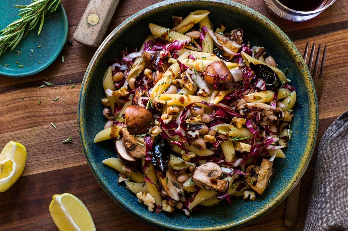 Penne with winter vegetables and balsamic fig sauce