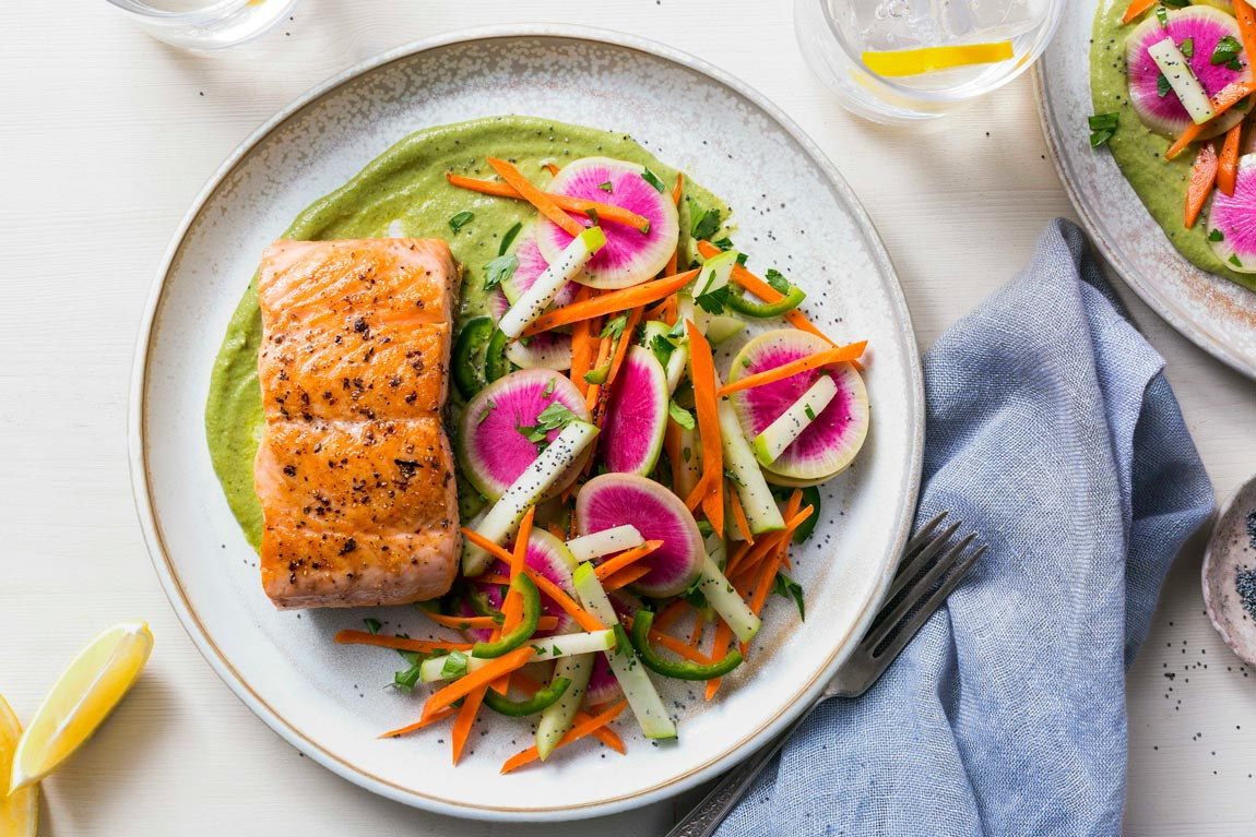 Salmon with green romesco and apple–poppy seed salad