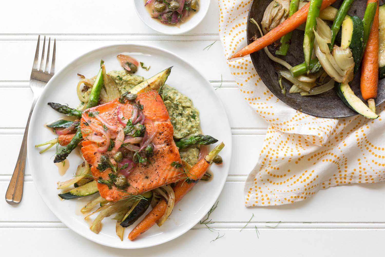 Salmon with green tahini